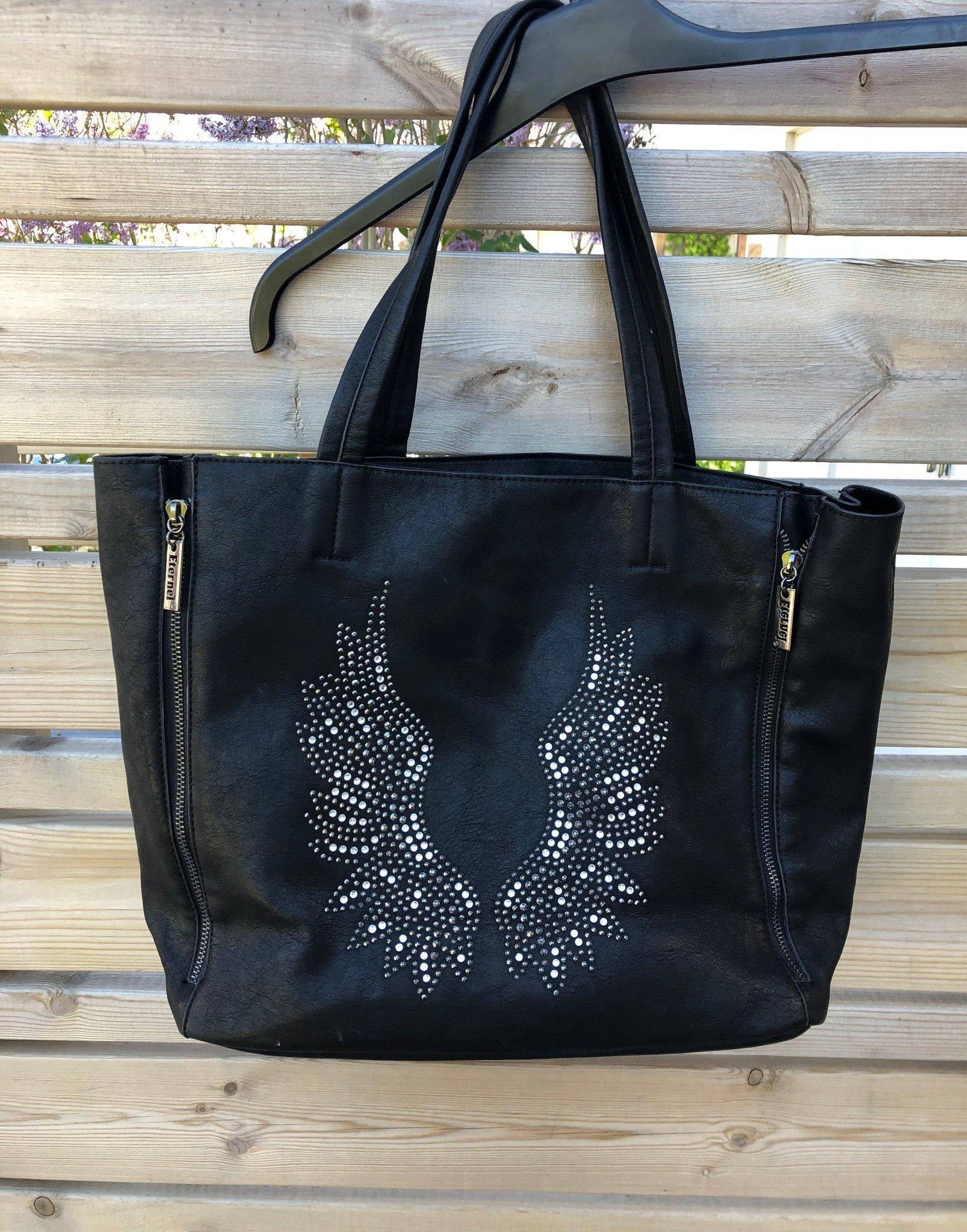 Eternel svart väska med änglavingar och dragkedjor