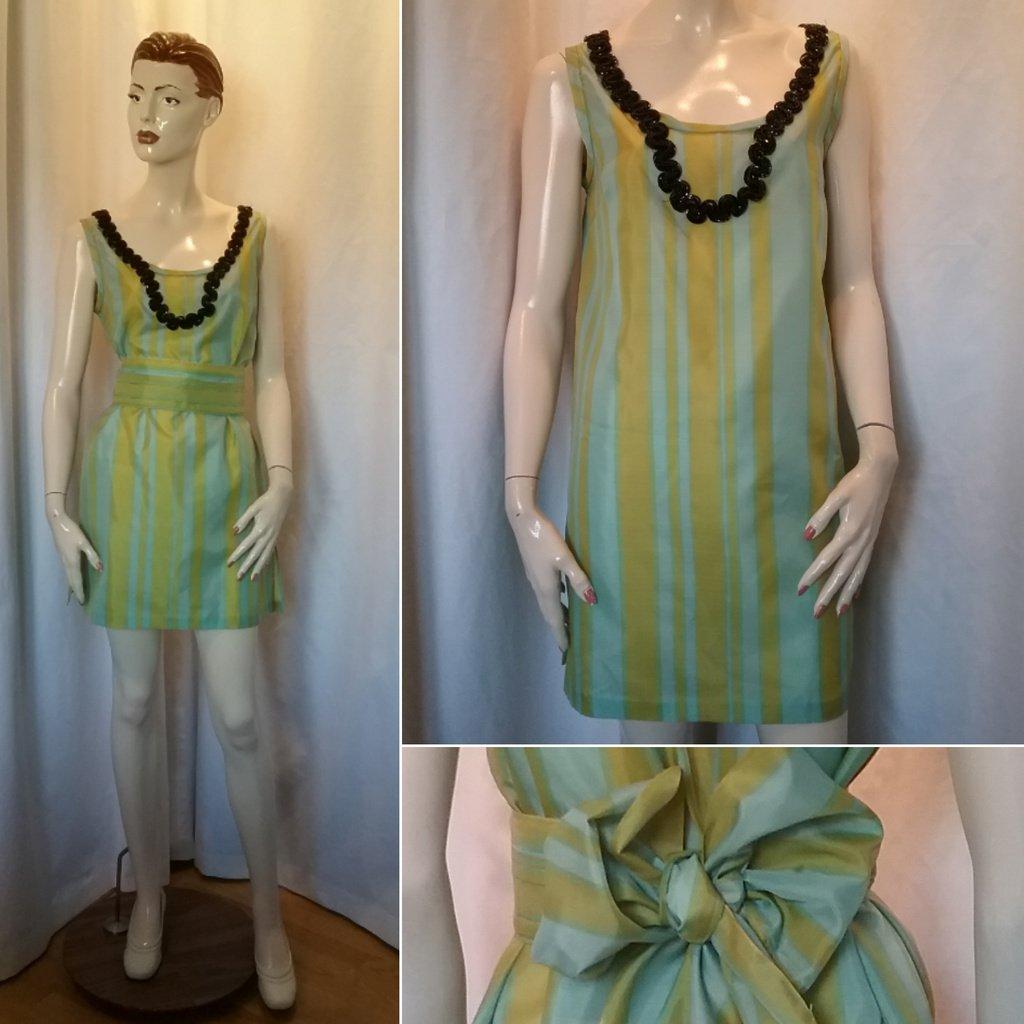 454e643e2525 Retro grön turkos randig kort klän.. (347561687) ᐈ vintagecorner på ...