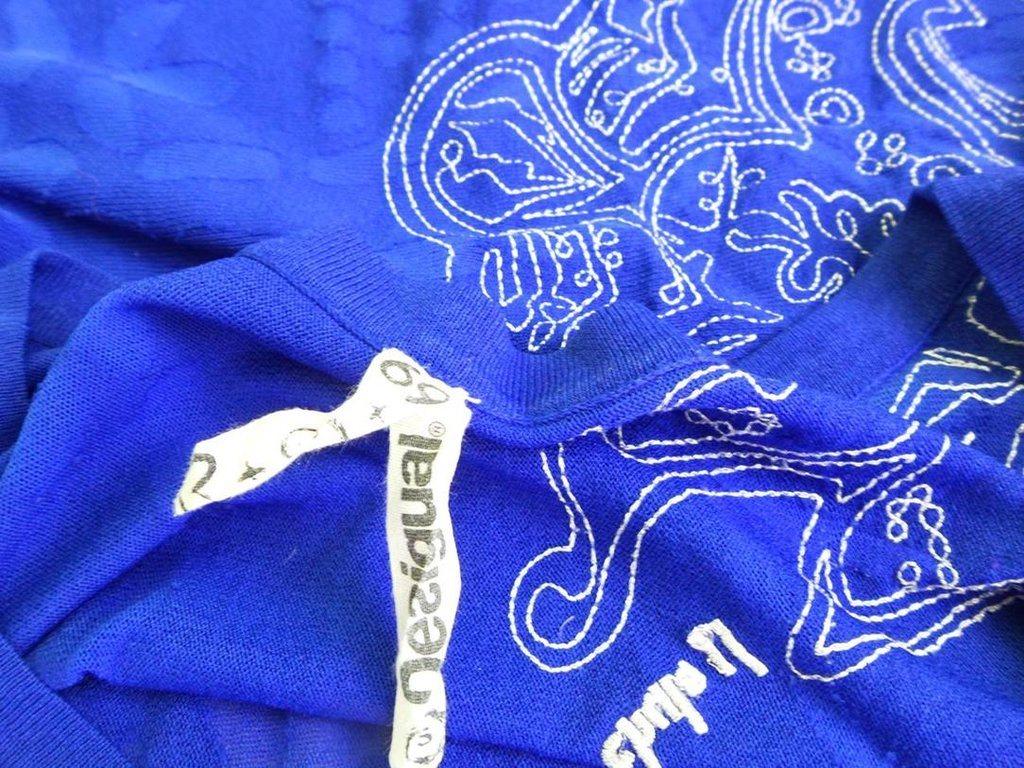 DESIGUAL DESIGUAL DESIGUAL Kortärmad tunika Marinblå Viskos Broderi Spain 71178c