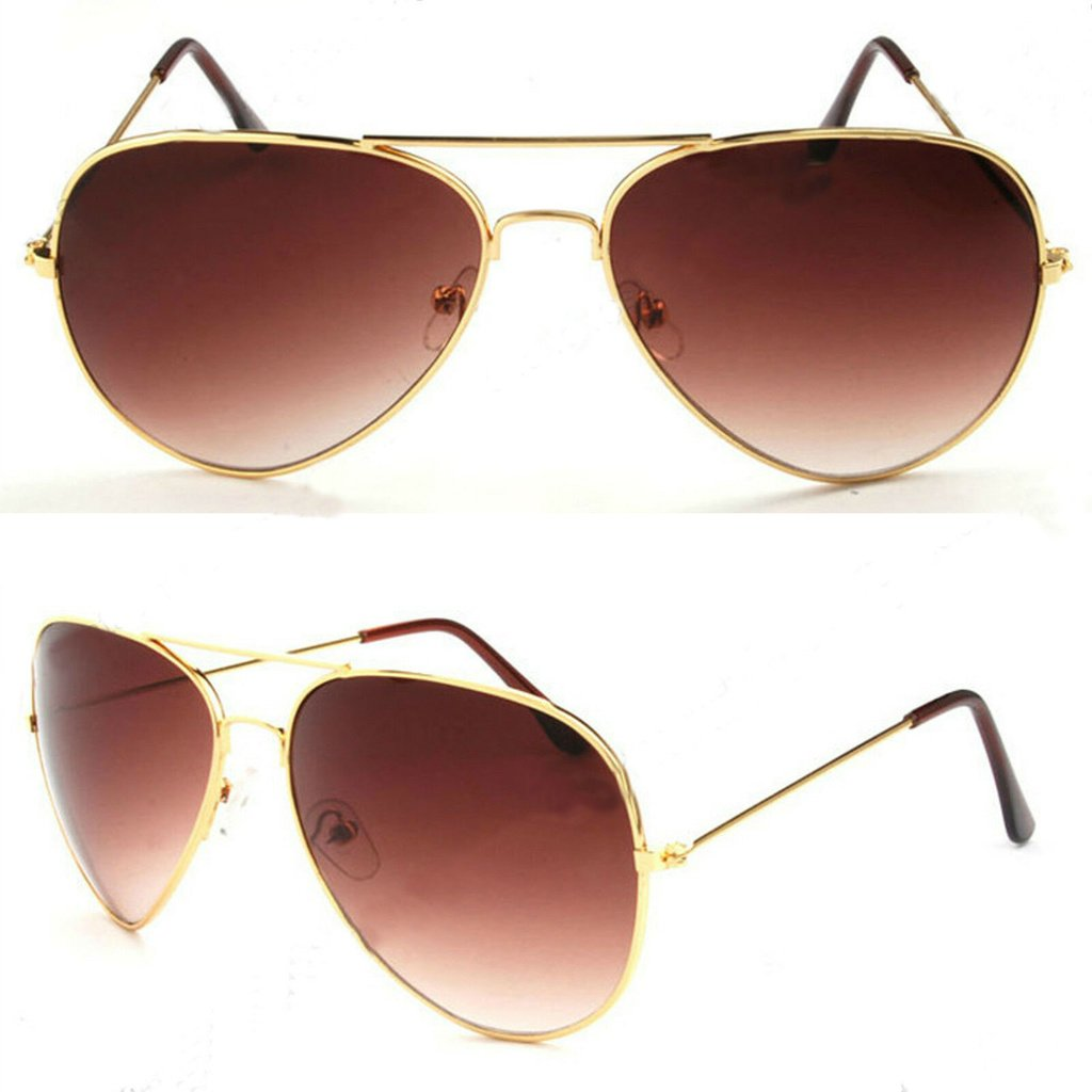 Men/'s 2019 Gold Mirror Lenses Gold Metal Frame Pilot Sunglasses 100/% UV 400