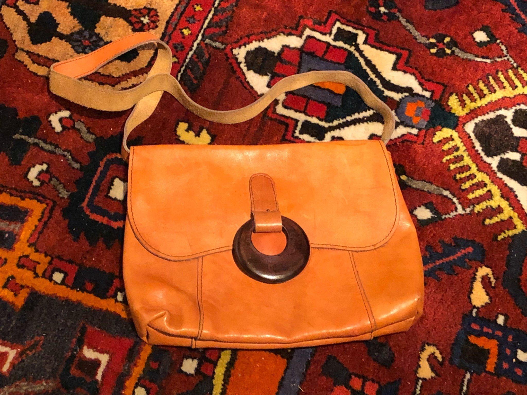Retro vintage väska axelremsväska skinn läder