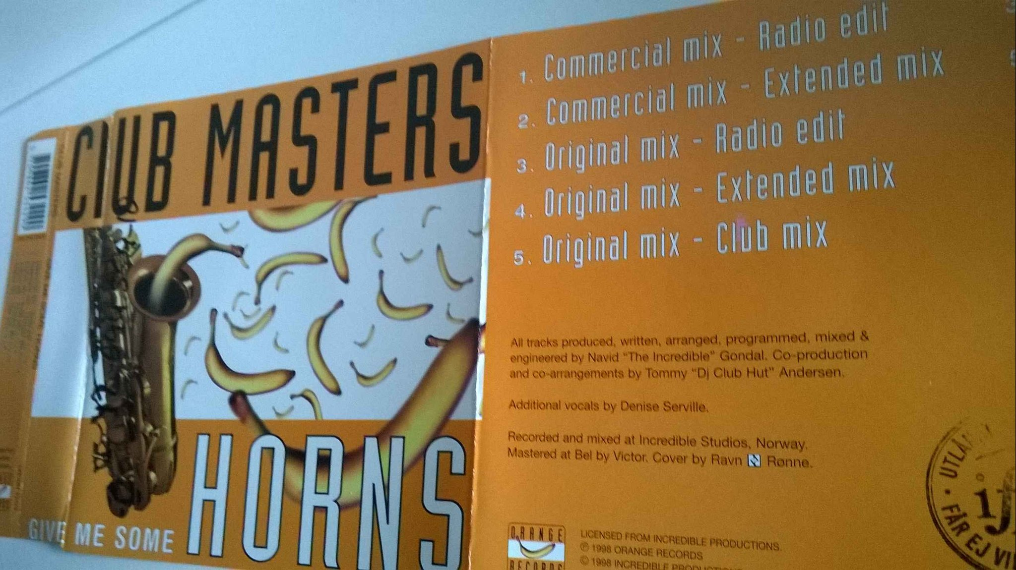 Club Masters - Give me come horns, single CD, promo
