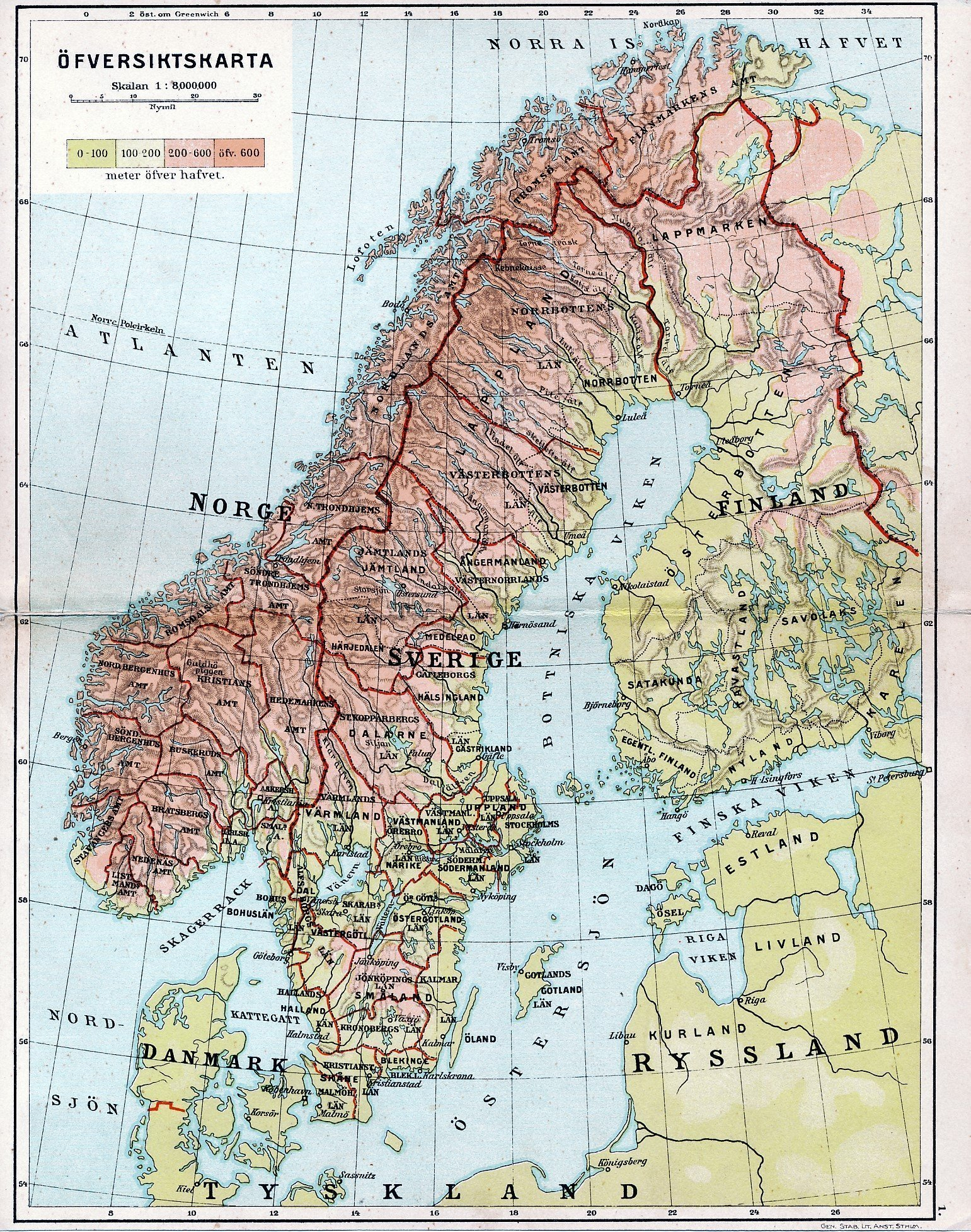 Sverige Norge Finland Danmark Ofversiktskarta 1 393559273 ᐈ