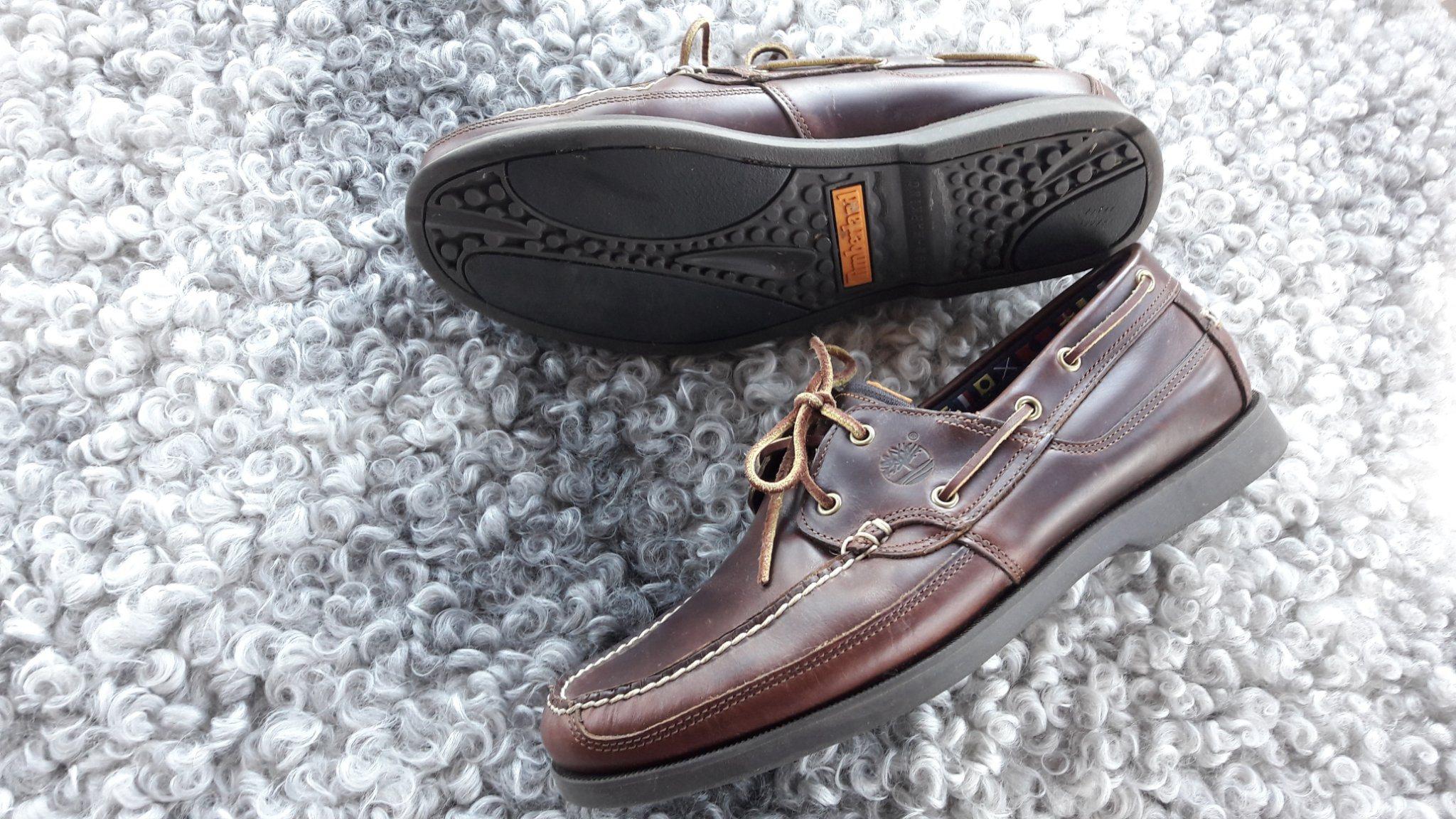 Felfria fräscha bruna Timberland skinn seglarskor båtskor seglar båt skor  47.5 635901b1c411f