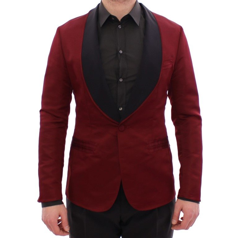 Dolce & Gabbana - Red silk slim fit blazer