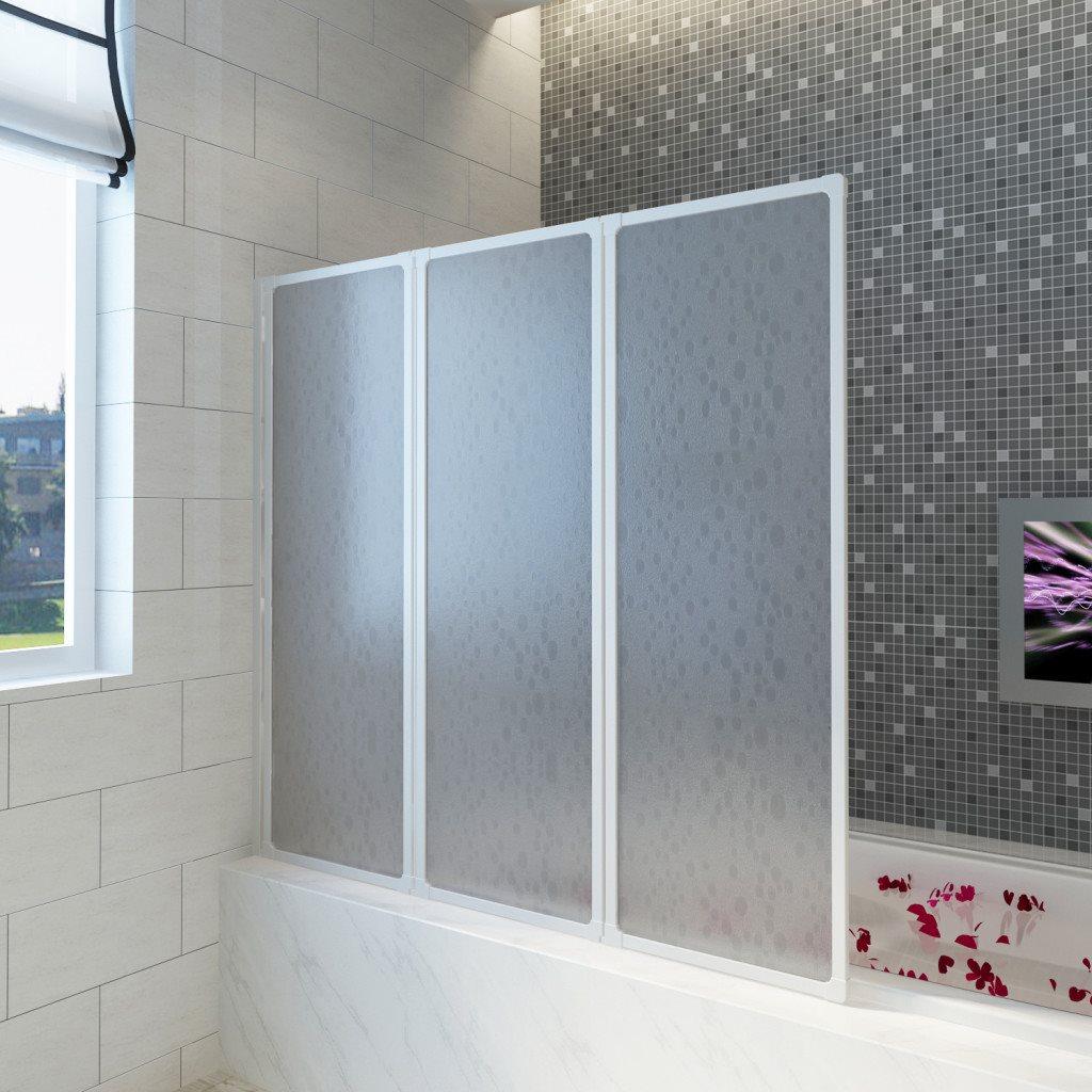 Duschvägg vikbar Vit 3-paneler 117x120 cm på Tradera.com - Dusch och