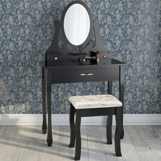 Sminkbord Med 3 Lådor Spegel Och Pall Antikstil Fabriksny Svart Ss4 På