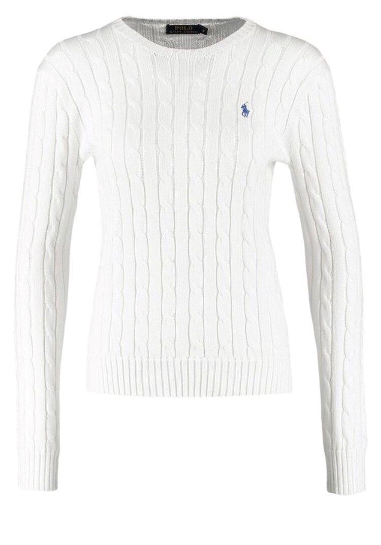 vit kabelstickad tröja ralph lauren