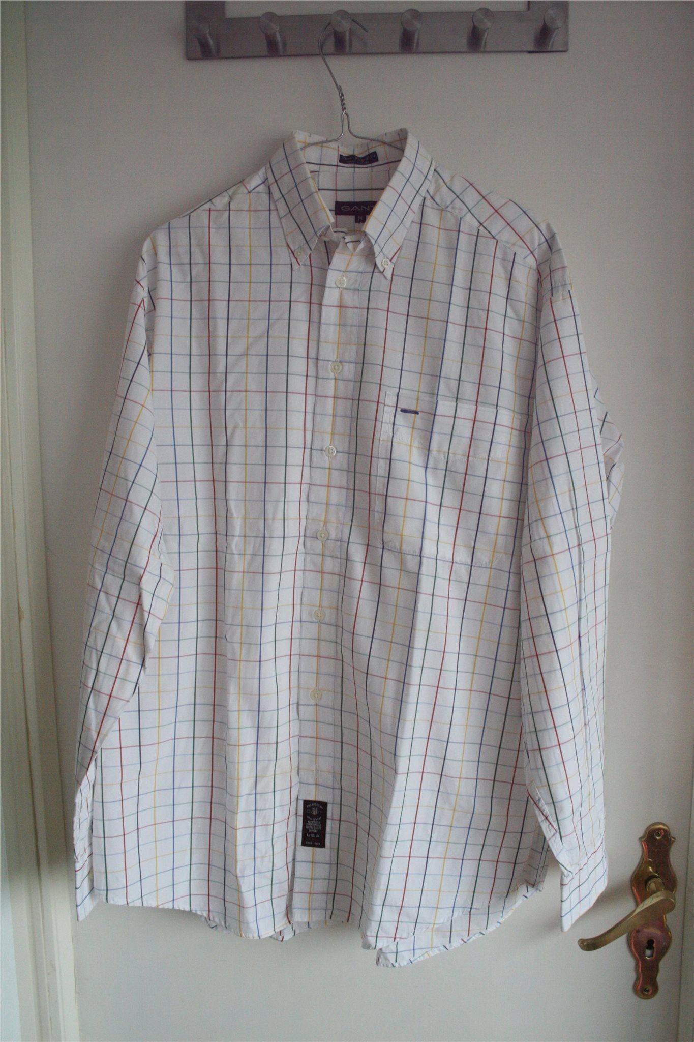 Vit rut/randig GANT skjorta Stl. L L L Two Ply 100's e45131