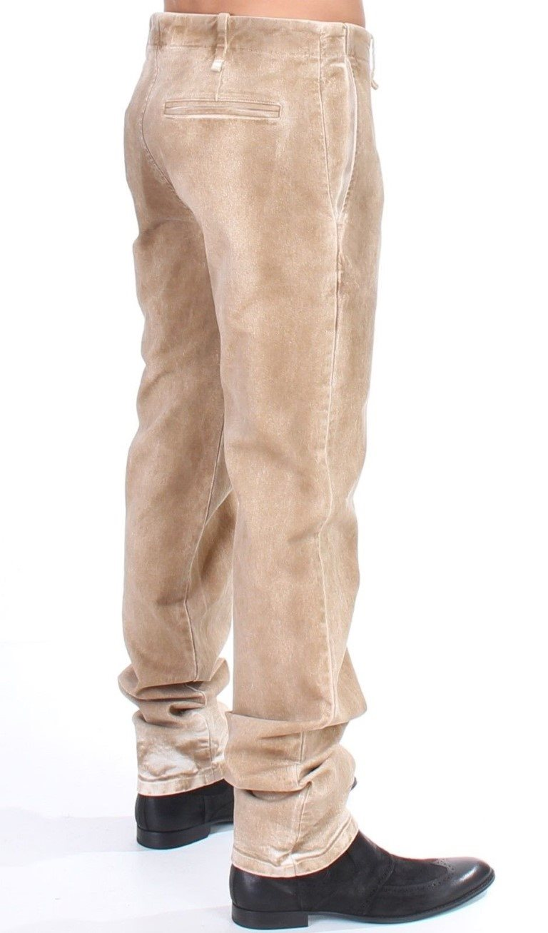 Galliano - Beige straight fit stretch jeans
