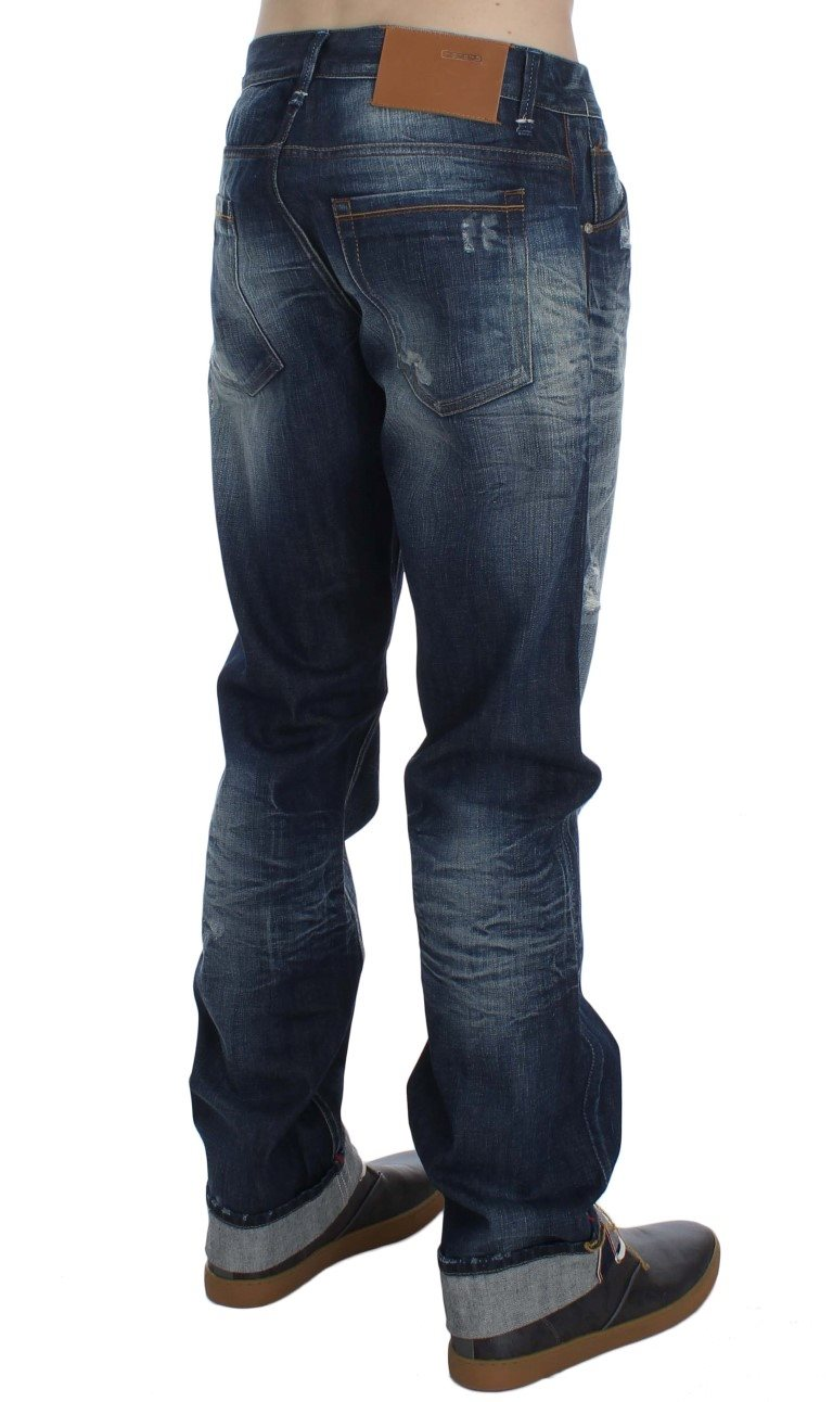 ACHT - Blue Wash Cotton Denim Regular Fit Jeans