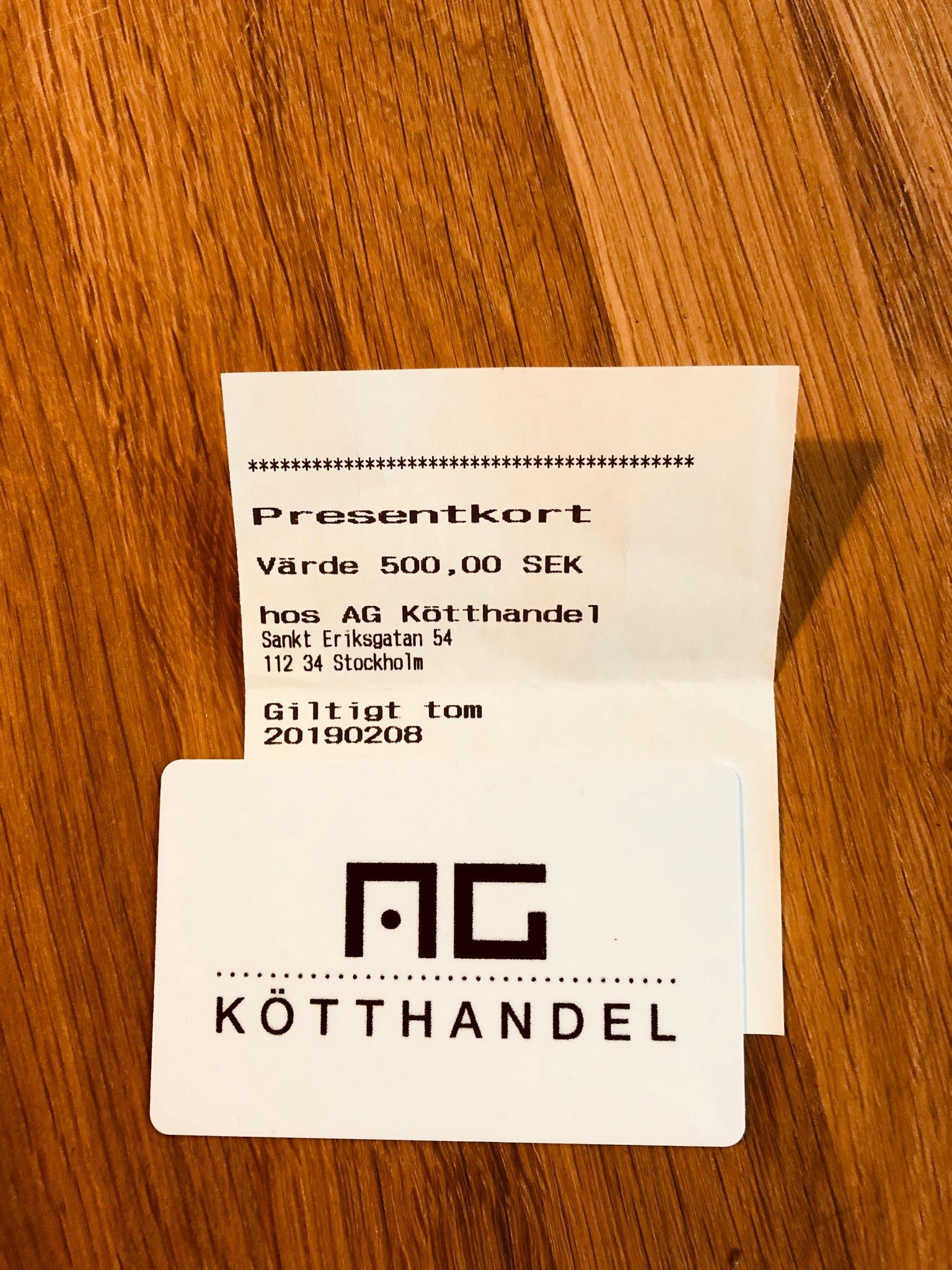 Presentkort AG Kötthandel 500kr (328642380) ᐈ Köp på Tradera 0ef516697a2d7