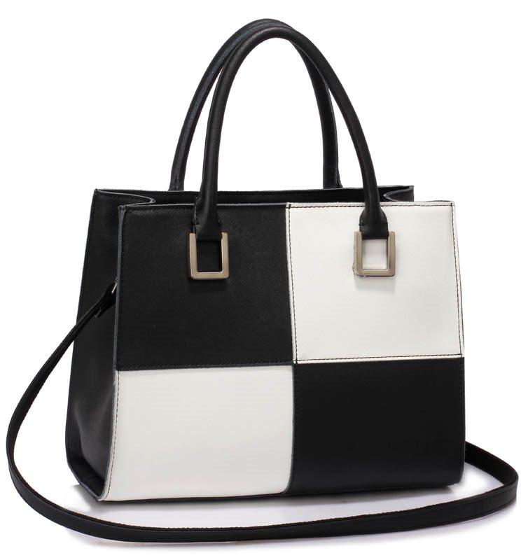 handväska svart/vit  Verkligt / äkta läder