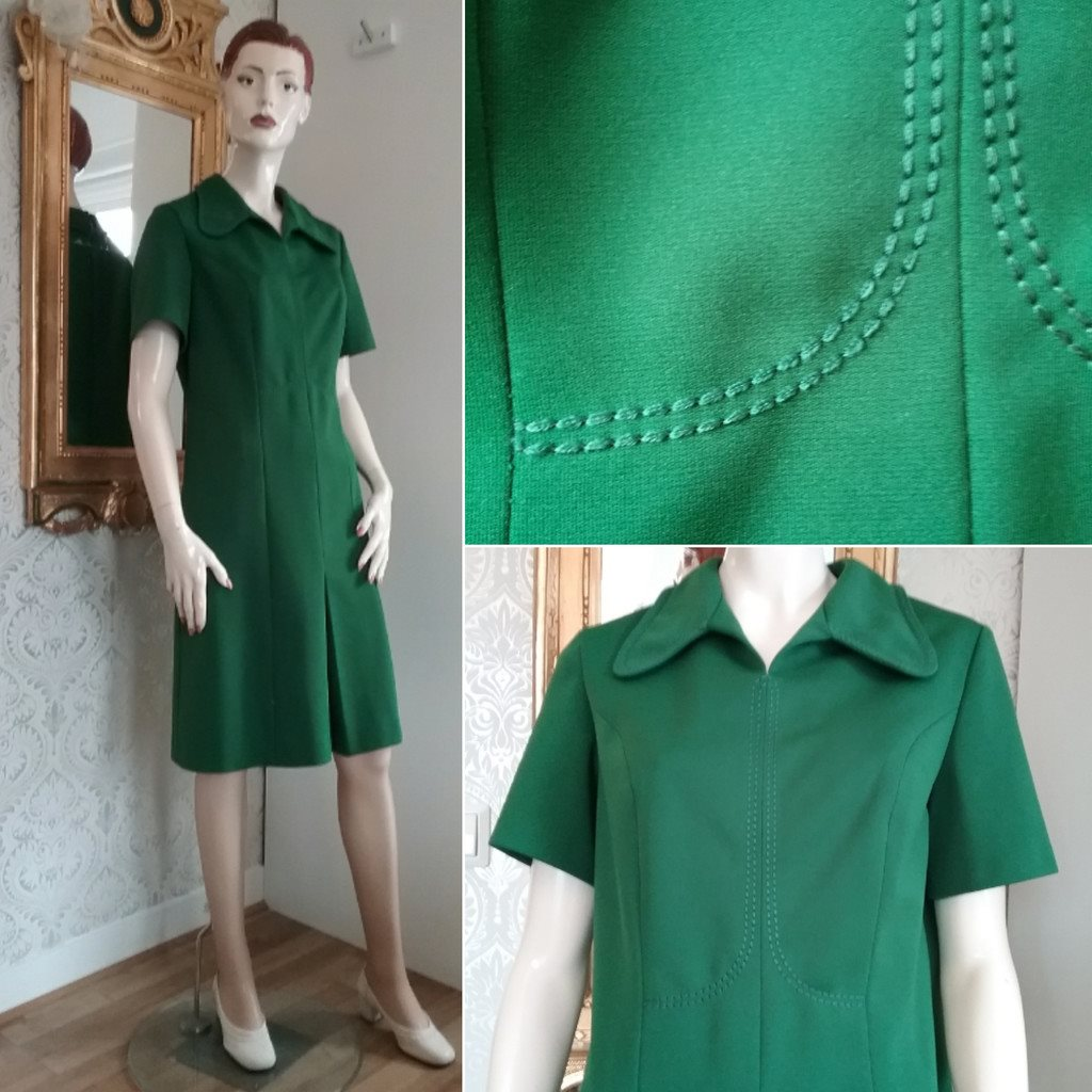 f2932fbeba29 Retro grön klänning fina stickning.. (306607222) ᐈ vintagecorner på ...