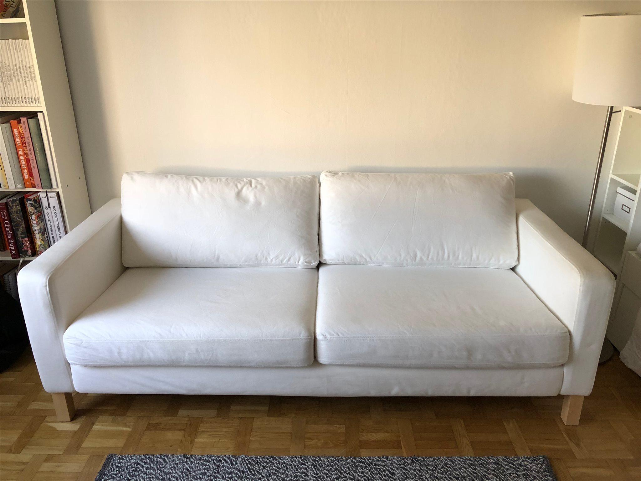 ikea karlstad 3-sitter soffa vit (308183294) ᐈ köp på tradera