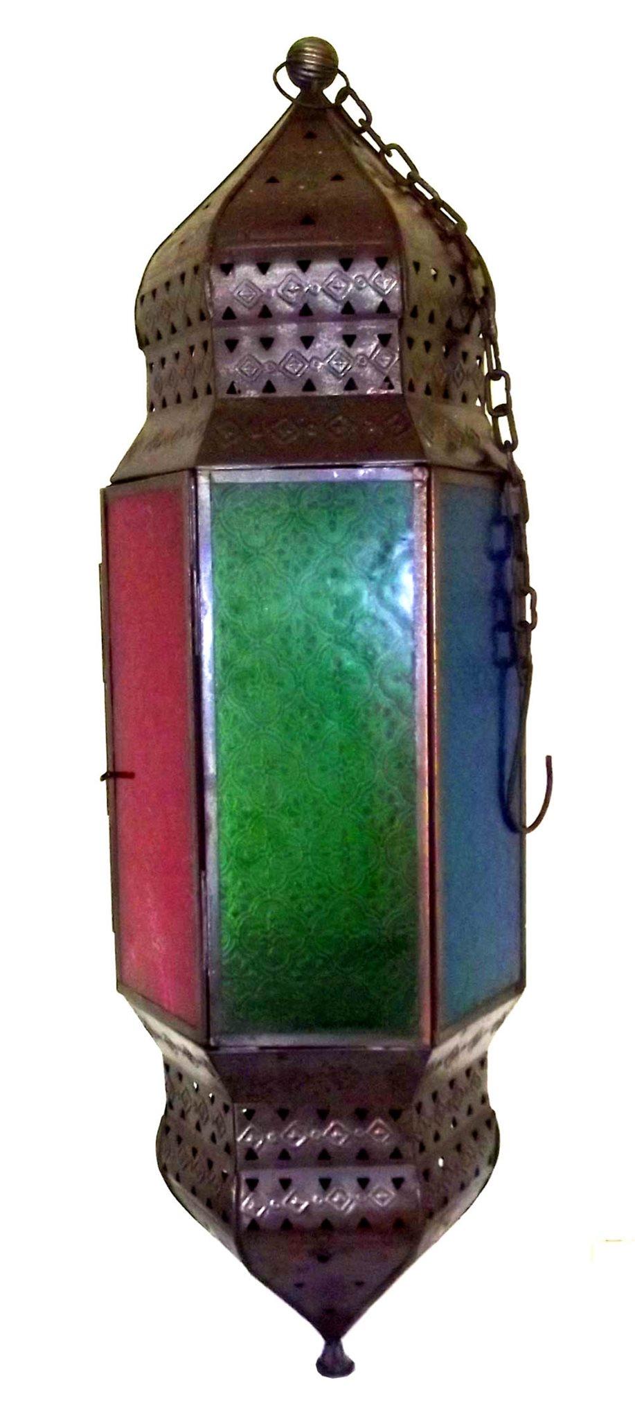 Gammal 75 cm Bedövning Mönstrat Glas Marockanska Lampa. Perfekt Skick.