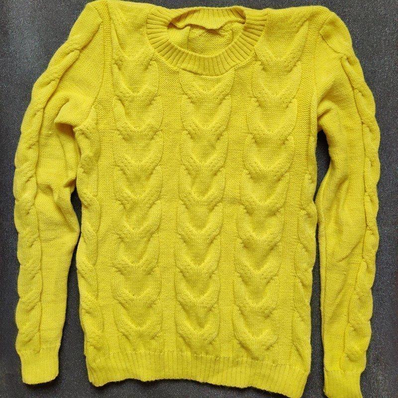 Utförsäljning! REA! Gotländsk stickad långärmad ulltröja gul. 70% ull