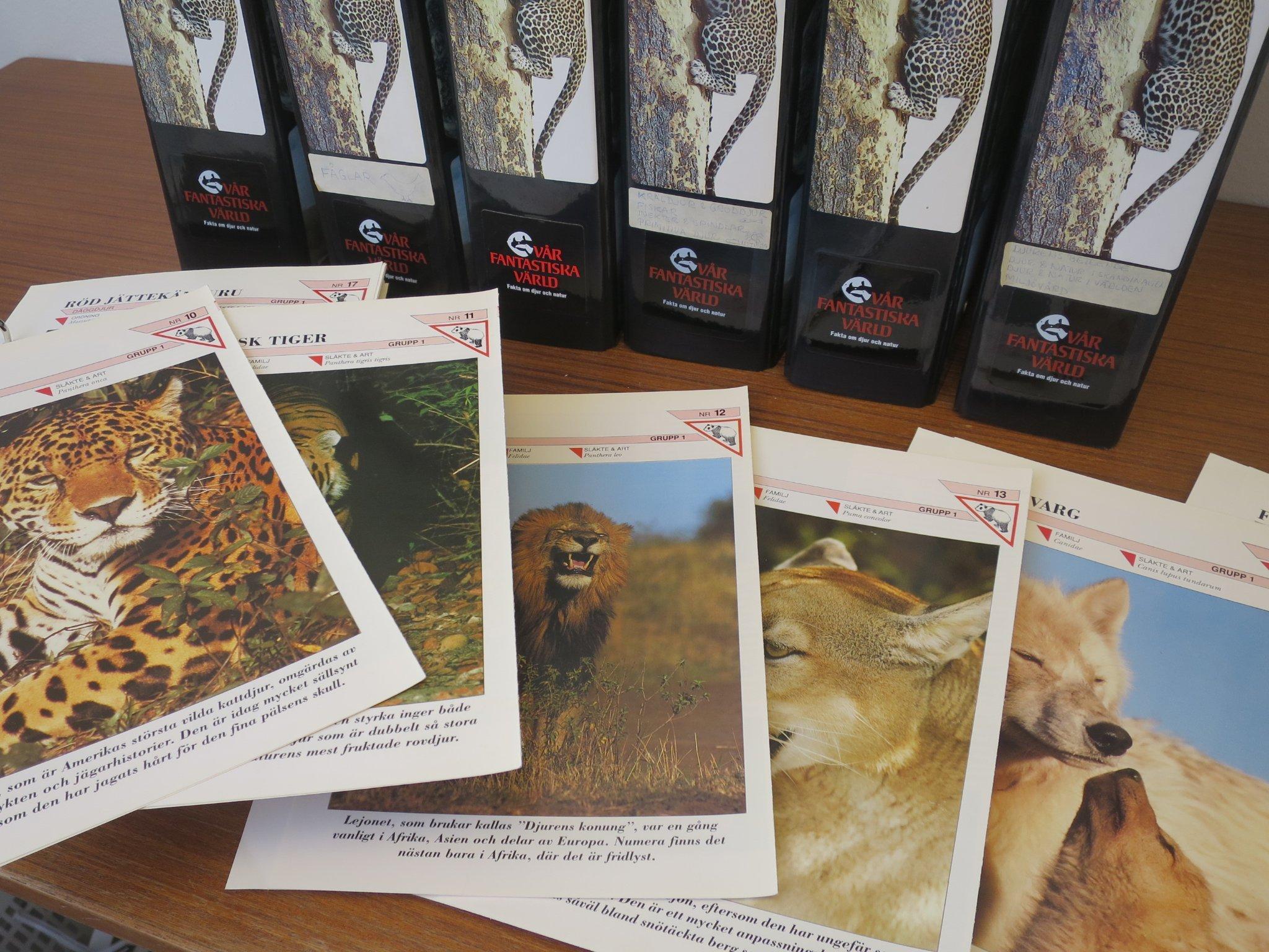 57b353dea3b4 VÅR FANTASTISKA VÄRLD - fakta om djur och natur, samlarkort, sju pärmar.