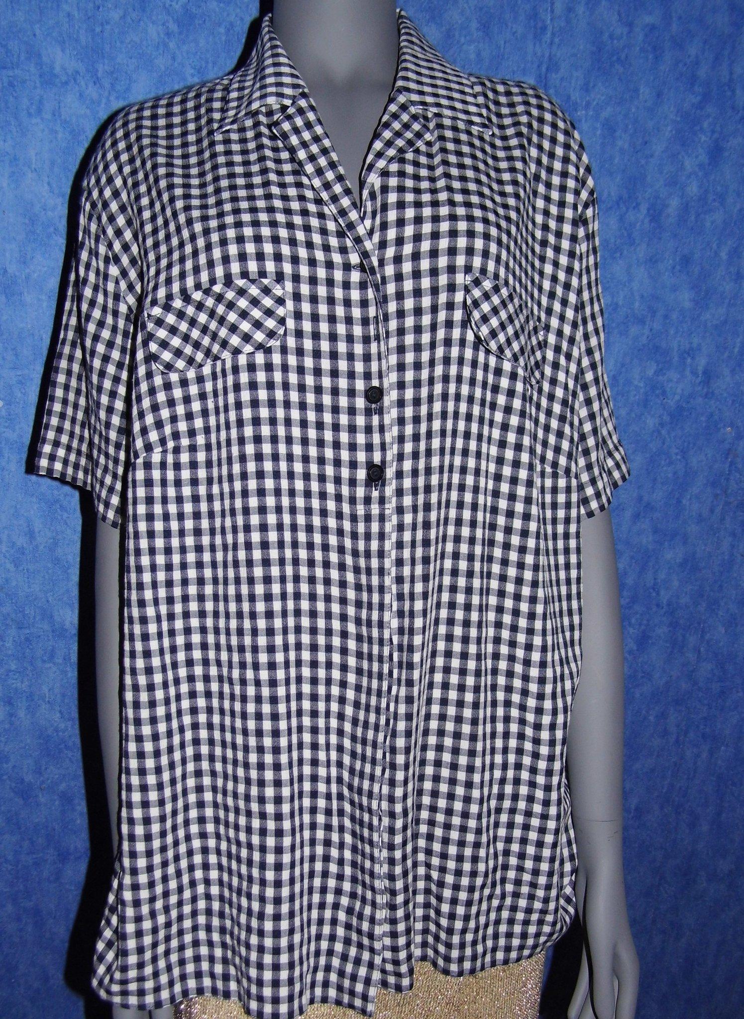 bf9097072904 Blå och vit rutig blus (346440933) ᐈ Köp på Tradera