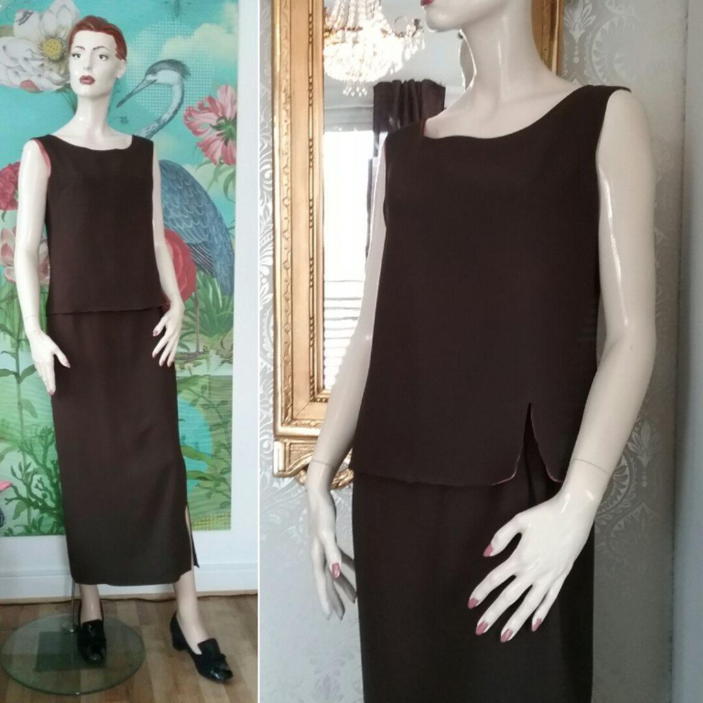 Vintage retro brun dress 2 delad klänning Mandell Couture ca