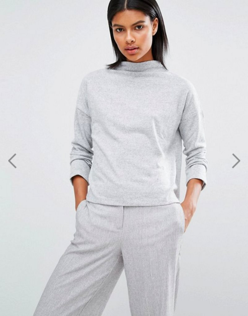 ASOS Vila High Neck Crop Jumper grey, tröja, kofta
