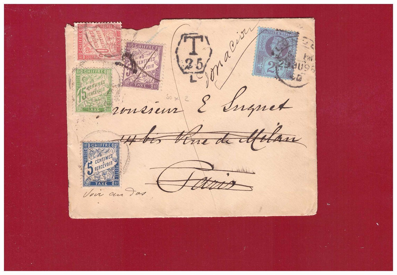 FRANCE. Cover from England, Postage due. 1895.