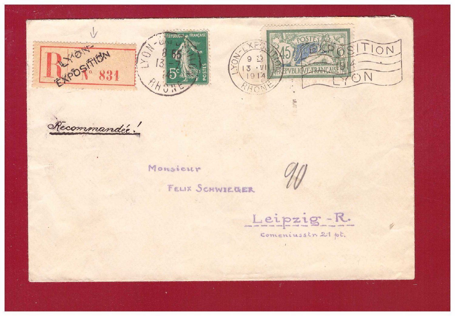 FRANCE. REG REG REG cover to Germany. LYON EXPOSITION 13 VII 1914. 1092ff