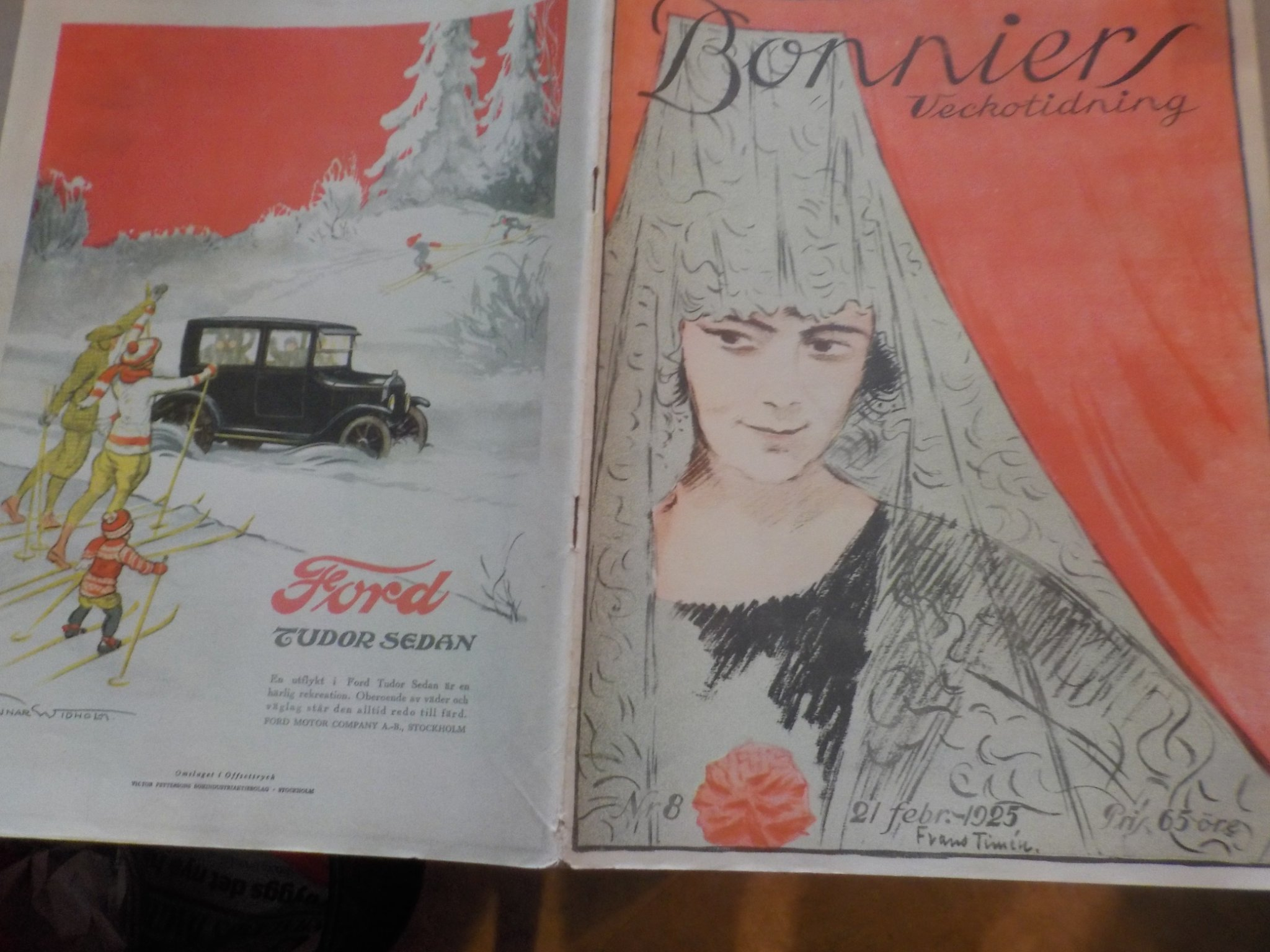 Bonniers Vecktidning 1925/8 Mode Buick Ford Reklam