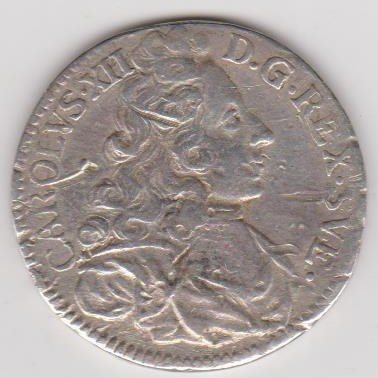 Karl Xll, 2 Mark SM, år 1701, God Kvalitet! Fyndutrop 1 kr!