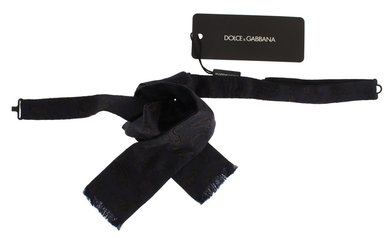 Dolce & Gabbana - Blue Silk Baroque Paisley Untied Bow Tie