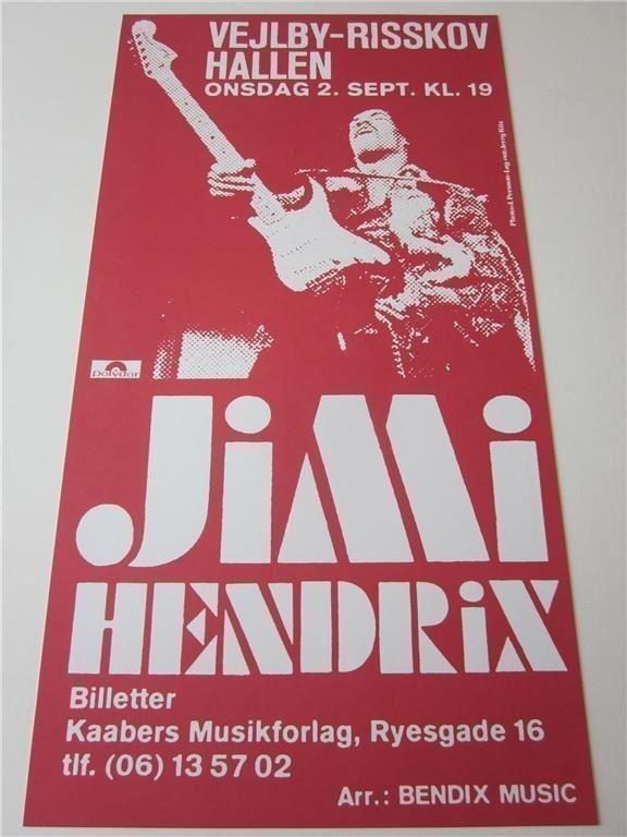 jimi hendrix concert poster konsertaffisch denmark 1970