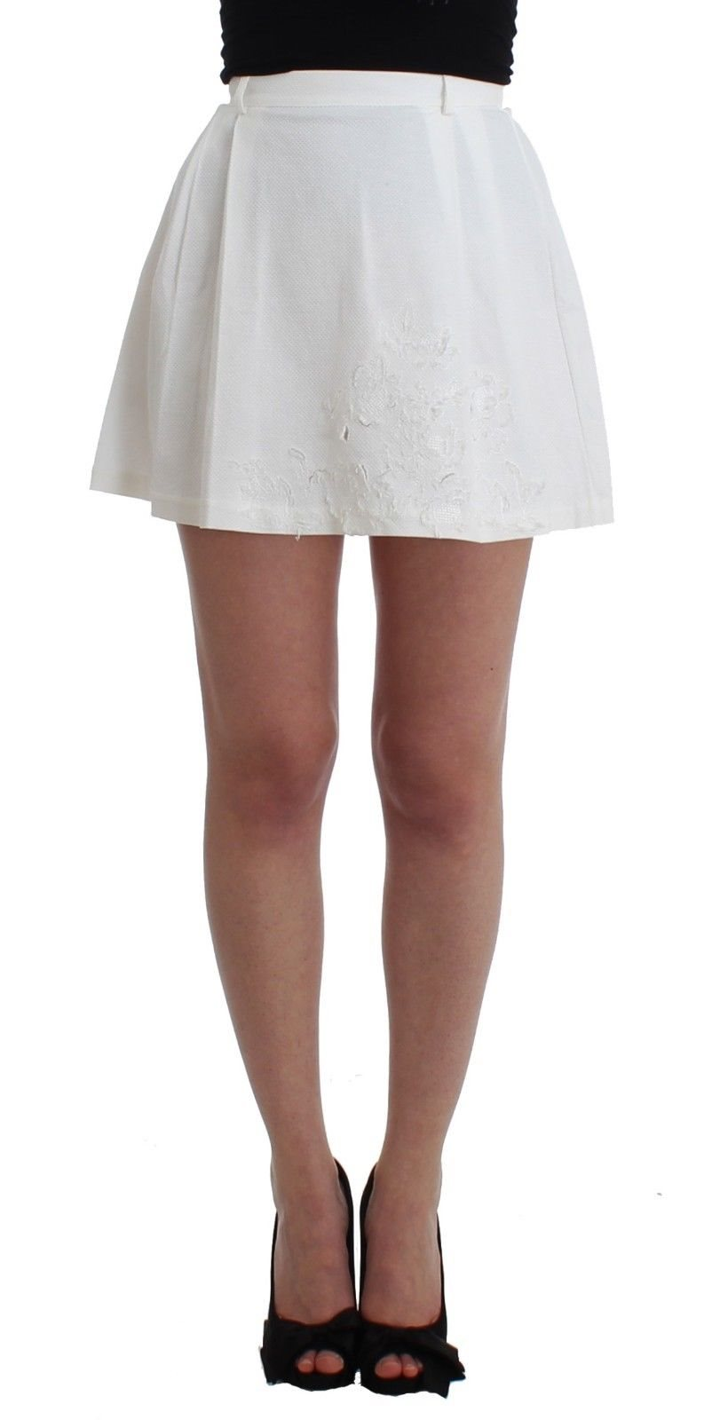 Ermanno Scervino - Beachwear White Mini Skirt A-Line Floral