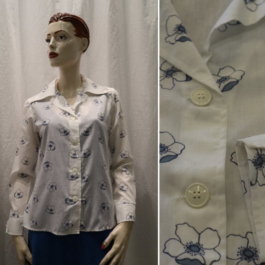 7d4874278a18 Vintage retro vit sommarblus med l.. (344150793) ᐈ vintagecorner på ...