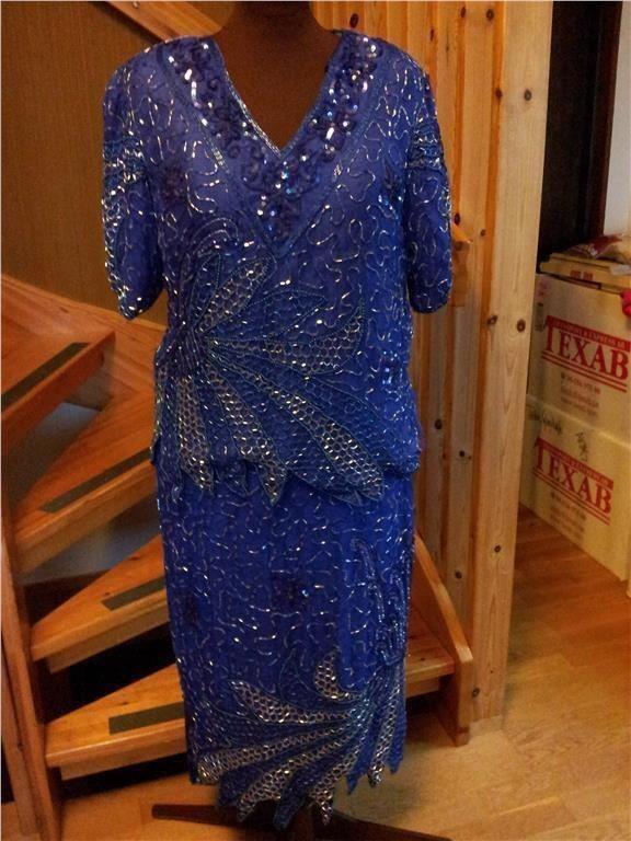 blå glitter klänning