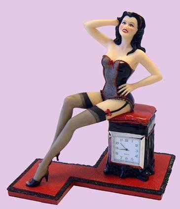 Pinup Statue with Clock - Boudoir 8""