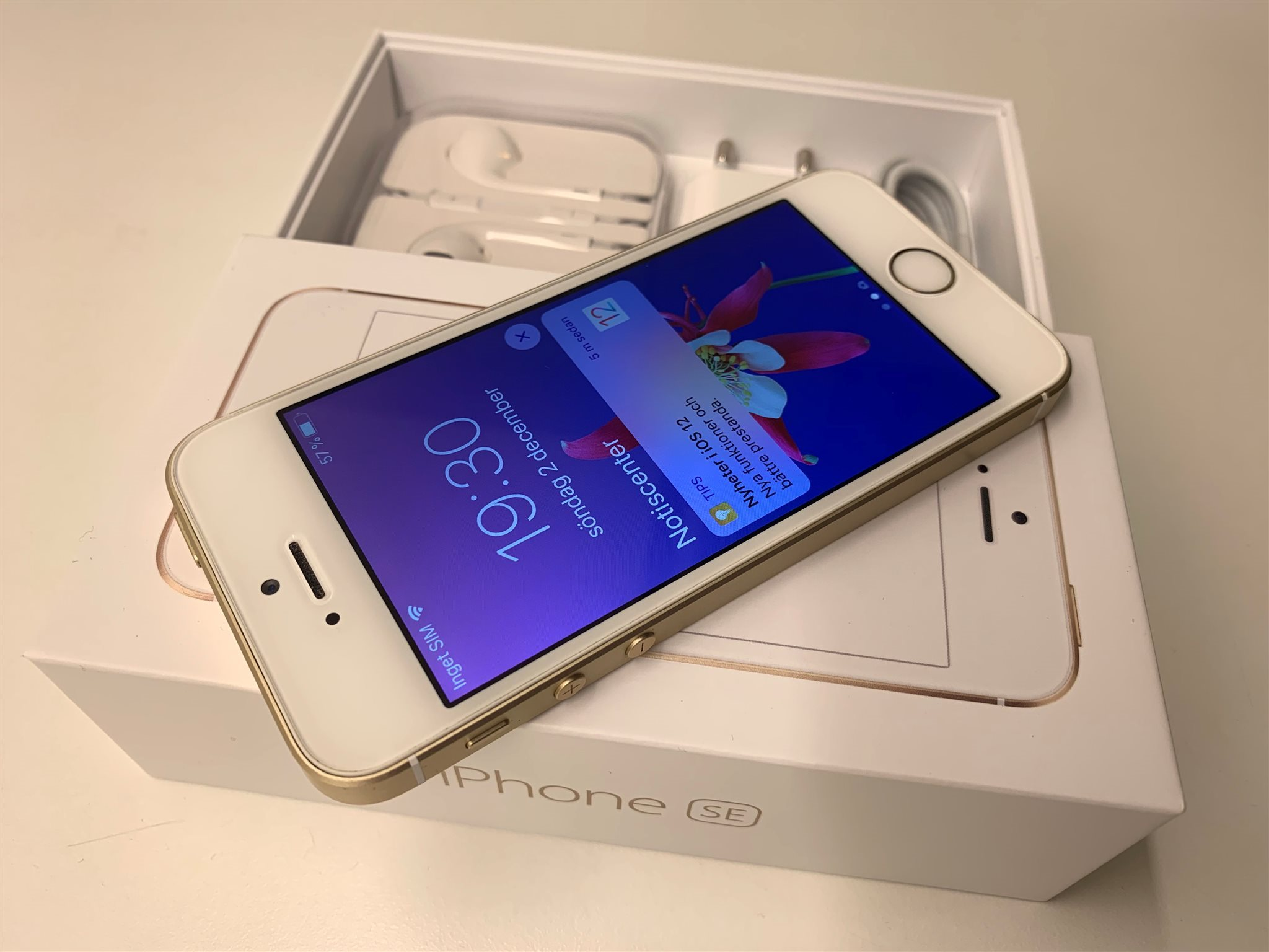 Apple iPhone SE Gold Helt komplett i Originallåda med NYA tillbehör  OLÅST   c2746037174ec