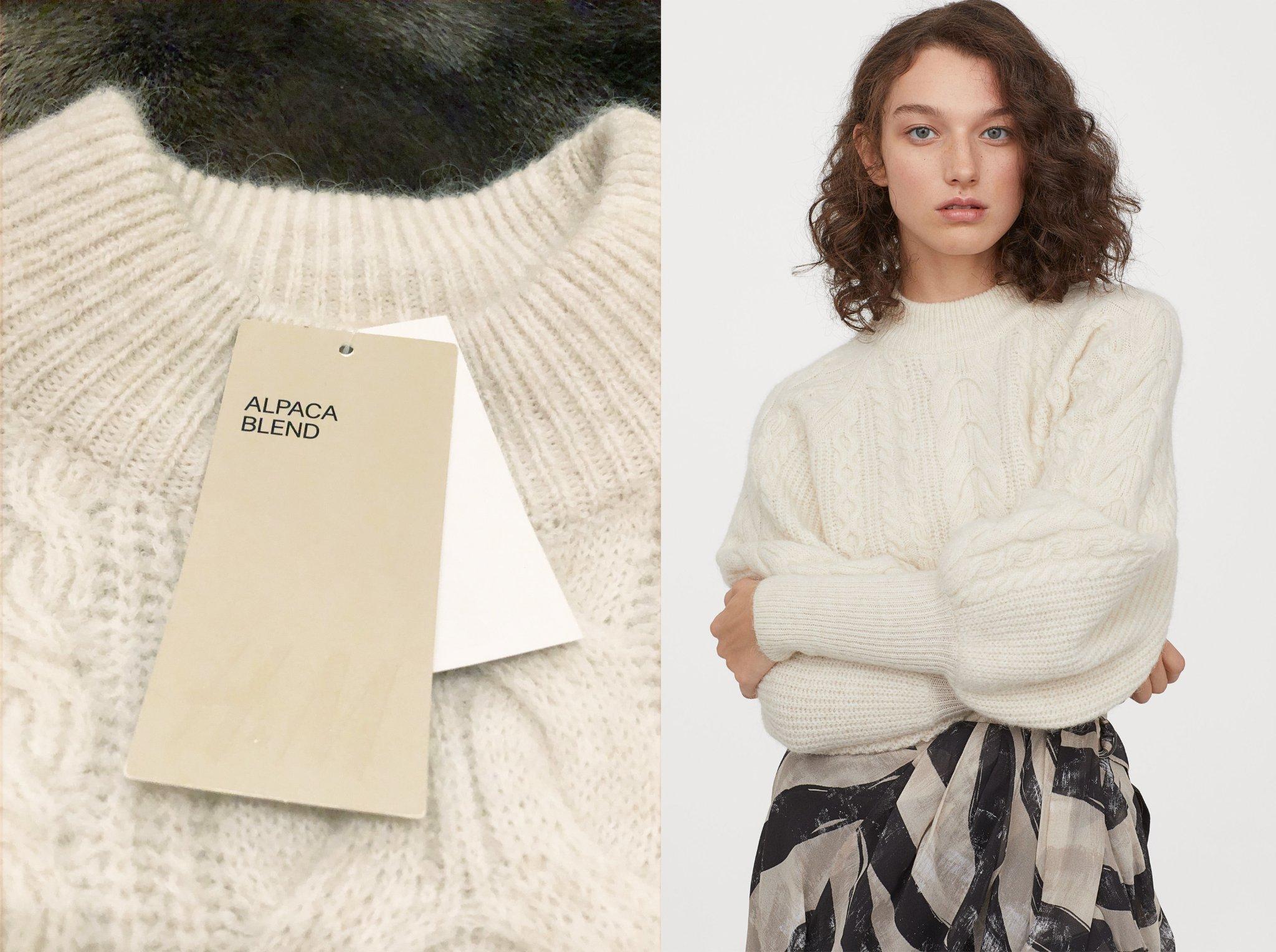 Ny 499: H&M tröja alpackamix kabelstickad ullmix ull stickad naturvit vit 36 S