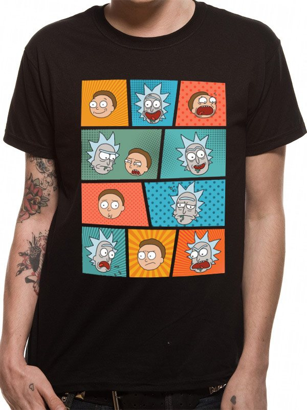 RICK & MORTY - POP ART FACES (UNISEX)  T-Shirt - Medium