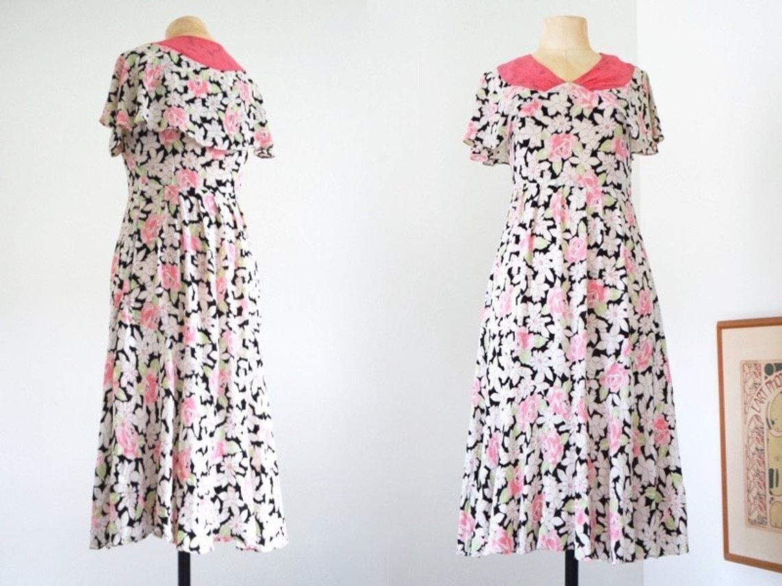 Vintage Retro ljuv klänning 30 tal beige med röda blommor