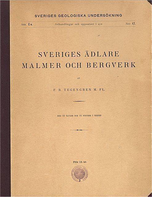 Sveriges ädlare malmer malmer malmer o bergverk; Tegengren från år 1924 på CD b2d298