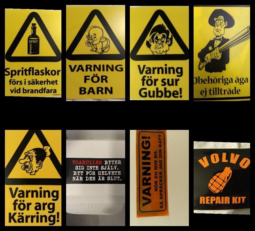roliga skyltar och klistermärken (312750500) ᐈ köp på tradera