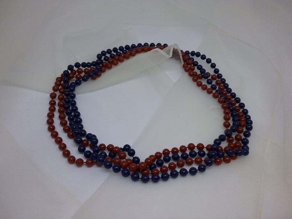 152d52e22211 Retro smycke bijouteri halsband 2 st rost och blått, längre med plastpärlor  ...