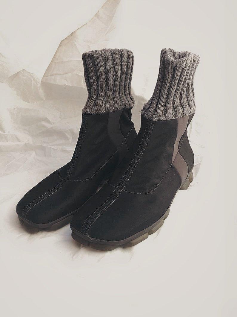 Raritet PRADA Miu Miu SS 1999 Sock Boots, svartgrå, stl. 37.5 38