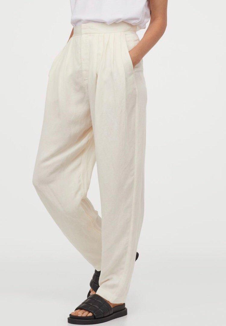 vita byxor hög midja