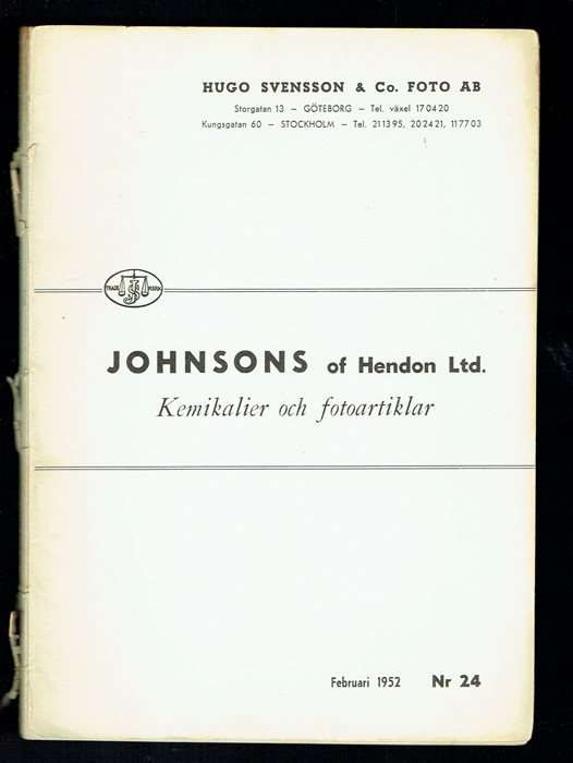 Johnsons of Hendon Ltd. - Kemikalier och fotoartiklar (1952)