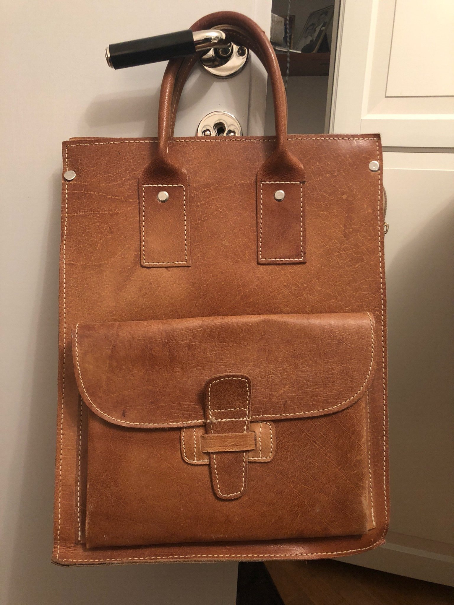 Brun väska i skinn äkta retro vintage (340365123) ᐈ Köp på Tradera 5817212db4c1e