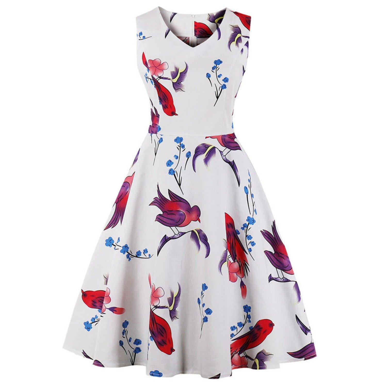 caec65489e3a Vit rockabilly klänning med fåglar (351364215) ᐈ Köp på Tradera