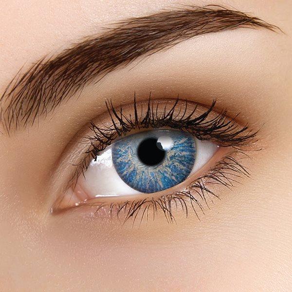 färgade linser ljusblå