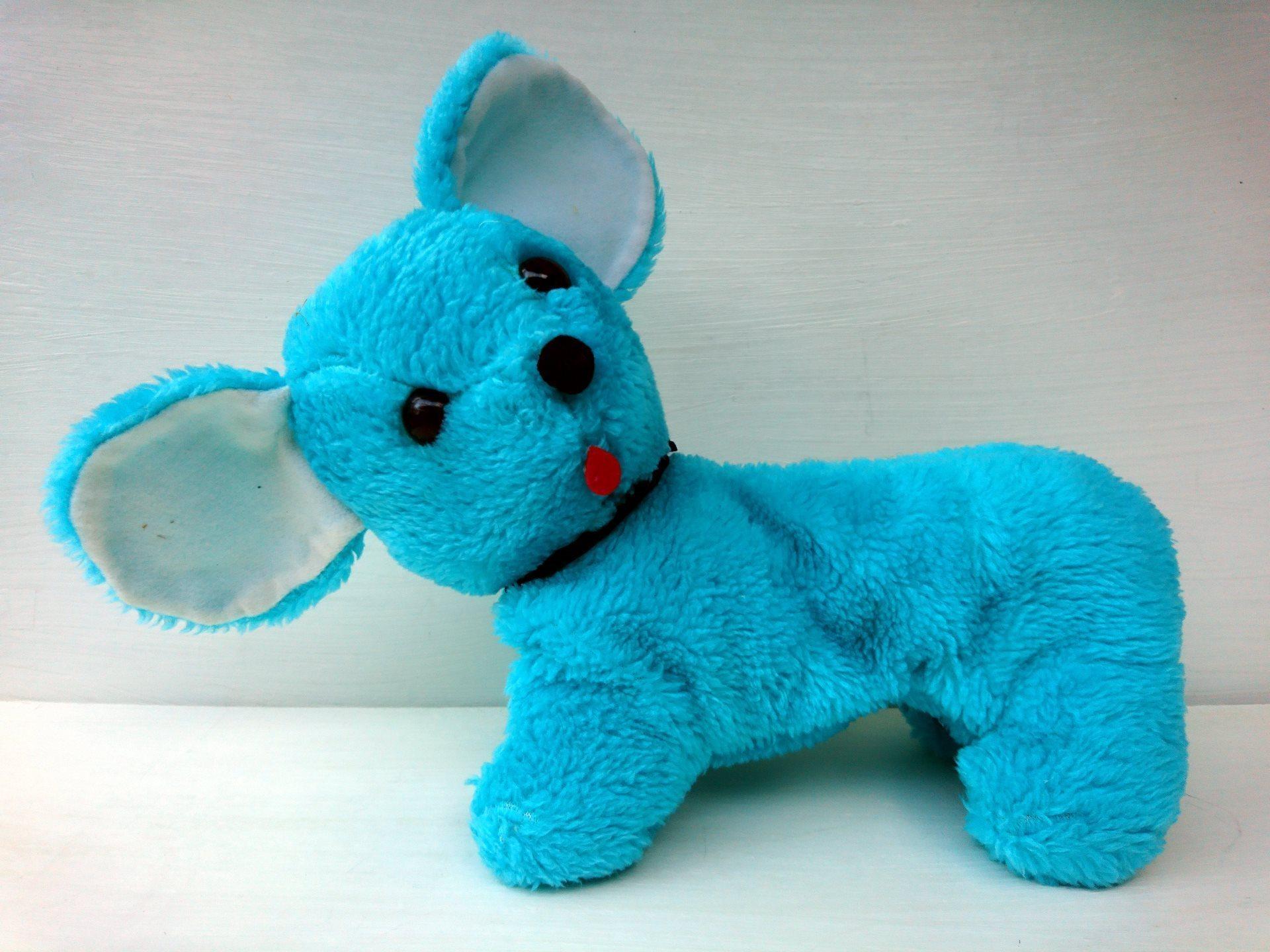 Blå hund med stora öron gosedjur mjukdjur mjuki.. (338458902) ᐈ Köp ... f76459fbd6853