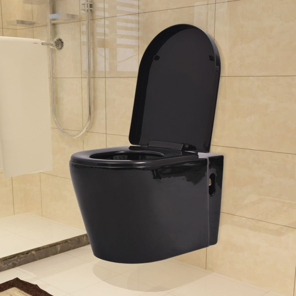 vidaXL Vägghängd toalett med dold cistern keramik svart på Tradera ...